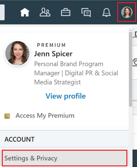 First, click Me in the header to access the drop-down list. Select Settings & Privacy.