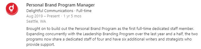 Example image of LinkedIn job description